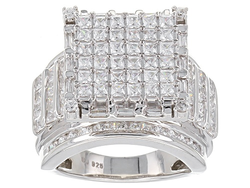 Photo of Bella Luce ® 5.40ctw Princess Cut, Baguette And Round Rhodium Over Sterling Silver Ring - Size 5