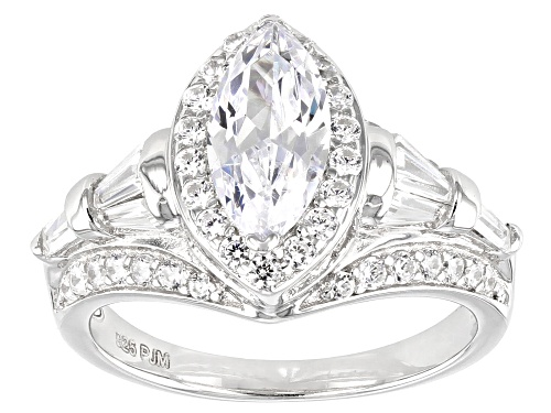 Photo of Bella Luce ® 4.59ctw Marquise, Baguette And Round Rhodium Over Sterling Silver Ring - Size 7