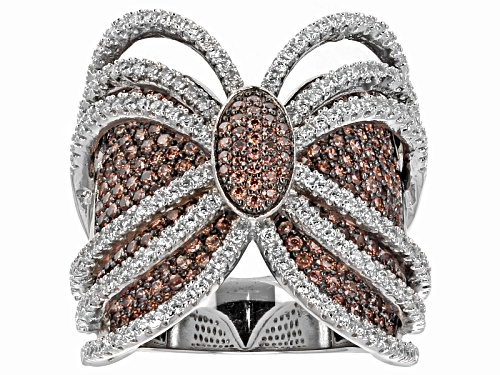 Photo of Bella Luce ® 4.48ctw Mocha & White Diamond Simulant Rhodium Over Sterling Silver Ring - Size 5