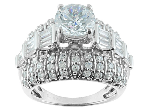 Photo of Bella Luce ® 5.74ctw Round And Baguette Rhodium Over Sterling Silver Ring - Size 6