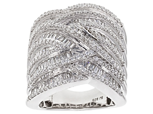 Photo of Bella Luce ® 4.85ctw Round And Baguette Rhodium Over Sterling Silver Ring - Size 5