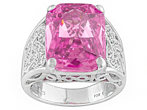 Photo of Bella Luce ® 17.83ctw Pink & White Diamond Simulant Rhodium Over Sterling Silver Ring - Size 5