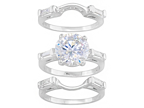Photo of Bella Luce ® 8.0ctw Round And Baguette Rhodium Over Sterling Silver Ring With 2 Bands - Size 8