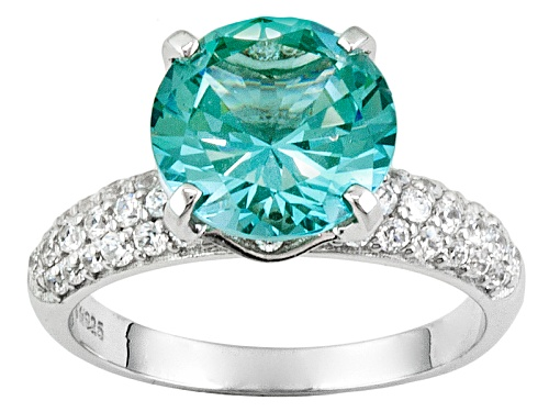 Photo of Bella Luce®4.59ctw Caribbean Green™ Lab Created Spinel And Diamond Simulant Rhodium Over Silver Ring - Size 10