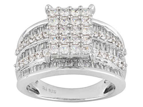 Photo of Bella Luce ® 3.50ctw Princess Cut And Baguette And Round Rhodium Over Sterling Silver Ring - Size 10