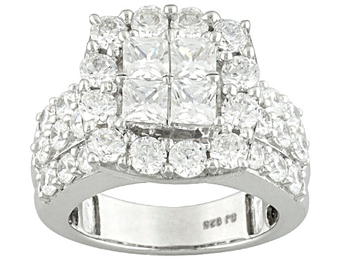 Photo of Bella Luce ® 5.96ctw Round And Princess Cut Rhodium Over Sterling Silver Ring - Size 5