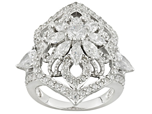 Photo of Bella Luce ® 5.61ctw Round, Marquise And Pear Shape Rhodium Over Sterling Silver Ring - Size 6