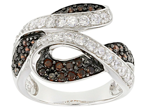 Photo of Bella Luce ® 2.56ctw Mocha And White Diamond Simulant Round Rhodium Over Sterling Silver Ring - Size 7