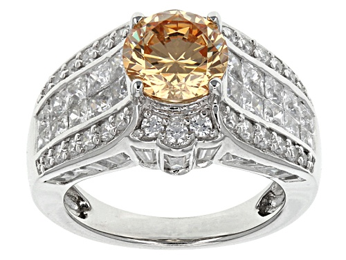 Photo of Bella Luce ® 8.32ctw Champagne And White Diamond Simulant Rhodium Over Sterling Silver Ring - Size 5