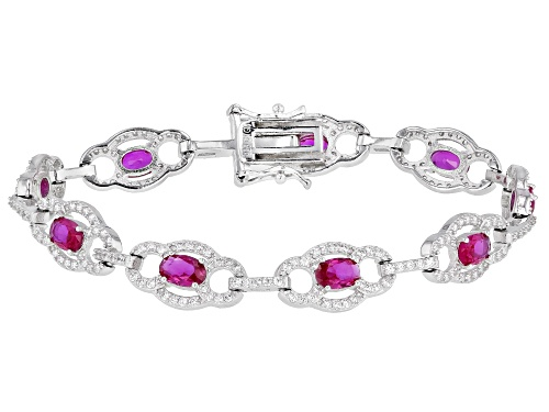 Photo of Bella Luce ® 8.82ctw Ruby And White Diamond Simulants Rhodium Over Sterling Silver Tennis Bracelet - Size 8