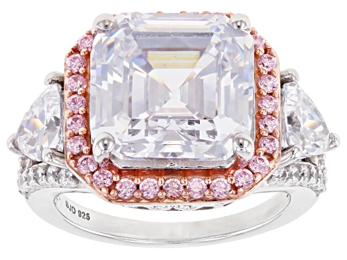 Photo of Bella Luce ® 18.45ctw Pink and White Asscher Cut Diamond Simulants Rhodium Over Sterling Ring - Size 8