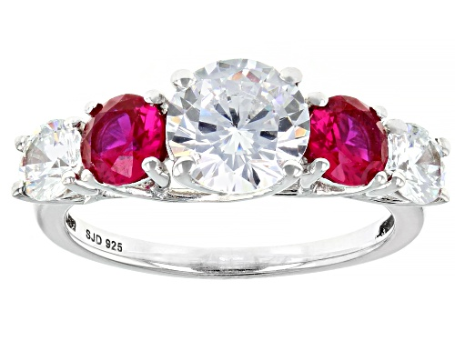 Photo of Bella Luce® 5.08ctw Ruby and White Diamond Simulants Rhodium Over Sterling Silver Ring (3.31ctw DEW) - Size 8