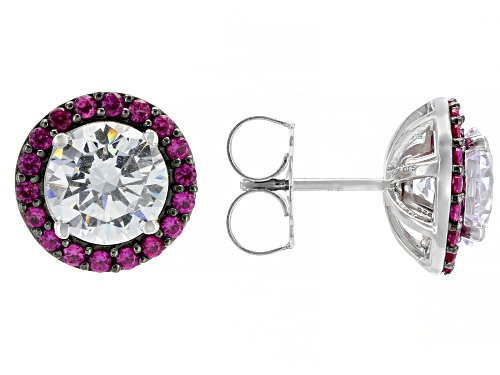 Photo of Bella Luce® 7.51ctw Ruby and White Diamond Simulants Rhodium Over Silver Stud Earrings (4.62ctw DEW)