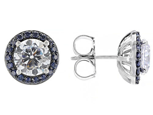 Photo of Bella Luce® 7.38ctw Blue Sapphire and Diamond Simulants Rhodium Over Silver Stud Earrings