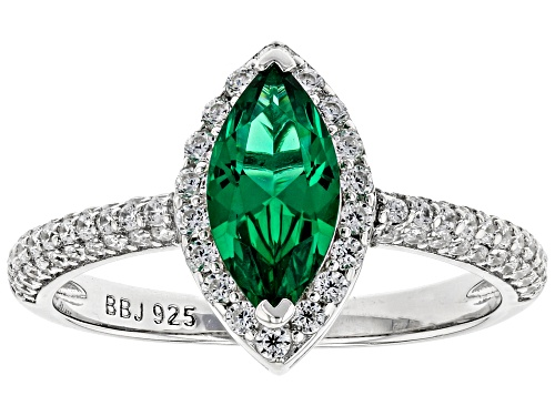 Photo of Bella Luce ® 1.53ctw Emerald And White Diamond Simulants Rhodium Over Sterling Ring (0.60ctw DEW) - Size 10