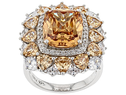 Photo of Bella Luce ® 16.72ctw Champagne and White Diamond Simulants Rhodium Over Sterling Ring (8.94ctw DEW) - Size 12