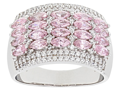 Photo of Bella Luce® 3.40ctw Pink and White Diamond Simulants Rhodium Over Sterling Ring (2.59ctw DEW) - Size 7