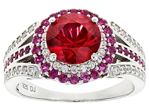 Photo of Bella Luce® 3.33ctw Lab Created Ruby and White Diamond Simulant Rhodium Over Sterling Ring - Size 10