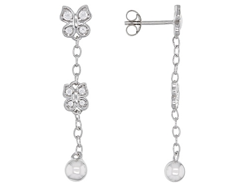 Photo of Bella Luce ® 0.43ctw Rhodium Over Sterling Silver Butterfly Dangle Earrings (0.20ctw DEW)