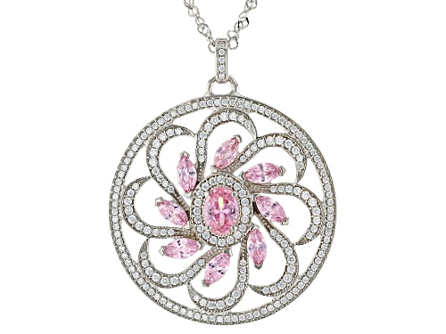 Photo of Bella Luce® Pink And White Diamond Simulants Rhodium Over Sterling Silver Flower Pendant With Chain
