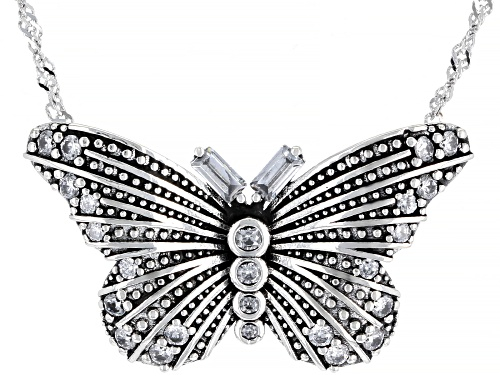 Photo of Bella Luce ® 1.28ctw White Diamond Simulant Rhodium Over Silver Butterfly Necklace (0.80ctw DEW) - Size 18