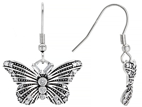 Photo of Bella Luce ® 1.06ctw White Diamond Simulant Rhodium Over Silver Butterfly Earrings (0.66ctw DEW)