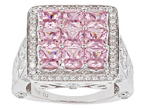 Bella Luce ® 7.77ctw Pink And White Diamond Simulants Rhodium Over Sterling Ring (5.24ctw DEW) - Size 10