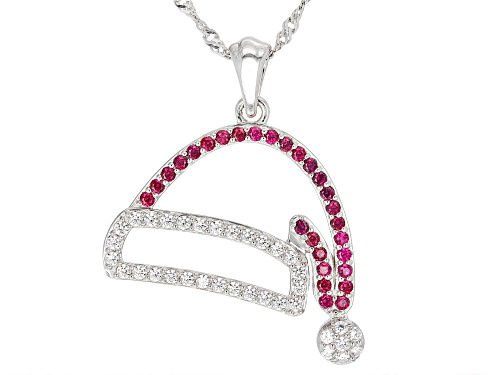 Photo of Bella Luce® Ruby and White Diamond Simulants Rhodium Over Sterling Santa Hat Pendant With Chain