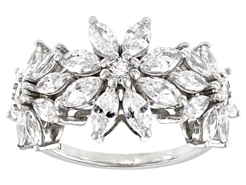 Photo of Bella Luce ® 4.20ctw Rhodium Over Sterling Silver Flower Ring (2.92ctw DEW) - Size 8