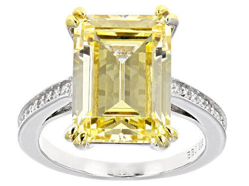 Photo of Bella Luce ® 6.48ctw Canary and White Diamond Simulants Rhodium Over Sterling Silver Ring - Size 10
