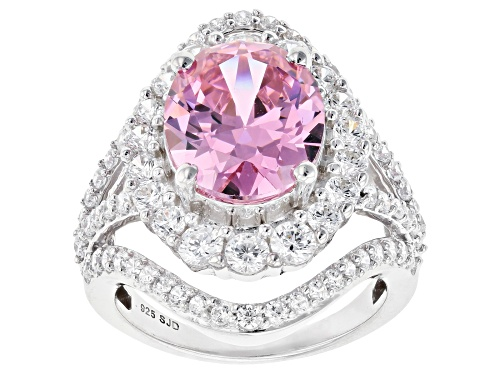 Photo of Bella Luce ® 11.58ctw Pink and White Diamond Simulants Rhodium Over Sterling Ring (6.43ctw DEW) - Size 7