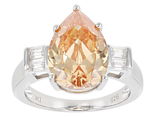 Photo of Bella Luce ® 4.90ctw Champagne and White Diamond Simulants Rhodium Over Sterling Silver Ring - Size 8