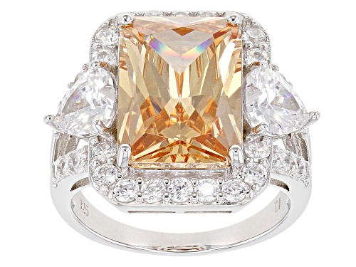 Photo of Bella Luce ® 16.53ctw Champagne and White Diamond Simulants Rhodium Over Sterling Ring (9.14ctw DEW) - Size 5