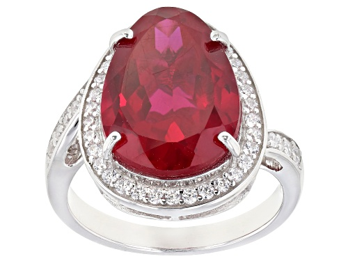 Photo of Bella Luce ® 11.92ctw Ruby and White Diamond Simulants Rhodium Over Sterling Ring (6.26ctw DEW) - Size 8