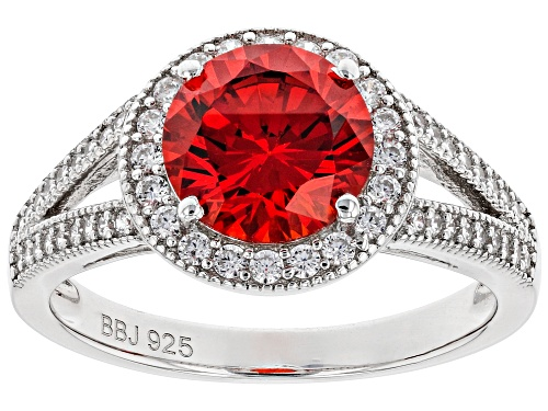 Photo of Bella Luce ® 4.08ctw Orange Sapphire and White Diamond Simulants Rhodium Over Sterling Ring - Size 8
