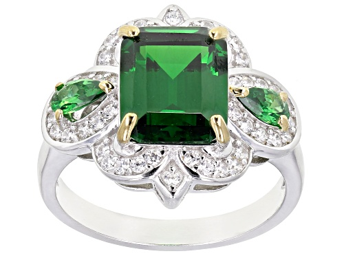Photo of Bella Luce ® 6.56ctw Emerald and White Diamond Simulants Rhodium Over Sterling Ring (4.58ctw DEW) - Size 7