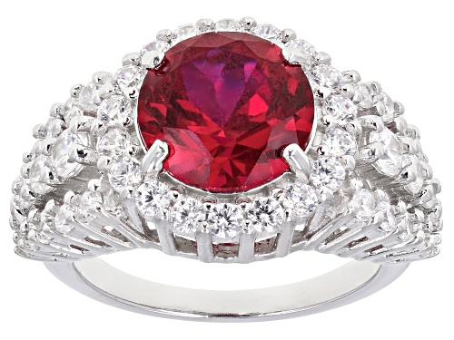 Photo of Bella Luce ® 6.81ctw Lab Created Ruby and White Diamond Simulant Rhodium Over Sterling Silver Ring - Size 7