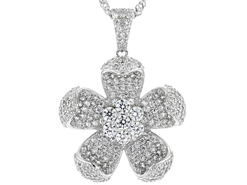 Photo of Bella Luce ® 3.20ctw Rhodium Over Sterling Silver Flower Pendant With Chain (1.83ctw DEW)