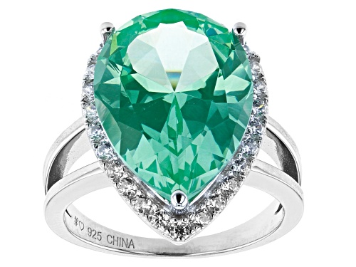 Photo of Bella Luce® Caribbean Green Lab Spinel And White Diamond Simulants Rhodium Over Silver Ring - Size 7
