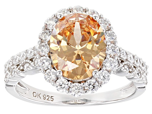 Photo of Bella Luce ®5.67ctw Champagne and White Diamond Simulants Rhodium Over Sterling Ring (3.25ctw DEW) - Size 10