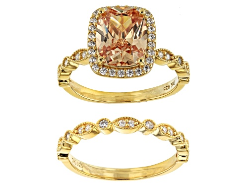 Photo of Bella Luce ® 4.80ctw Champagne and White Diamond Simulants Eterno ™ Yellow Ring With Band - Size 8