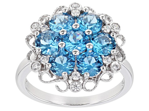 Photo of Bella Luce ® 3.05ctw Lab Blue Spinel and White Diamond Simulant Rhodium Over Sterling Silver Ring - Size 7