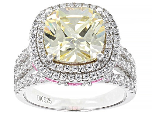Photo of Bella Luce® 12.85ctw White, Canary, and Pink Diamond Simulants Rhodium Over Silver Ring(9.48ctw DEW) - Size 8