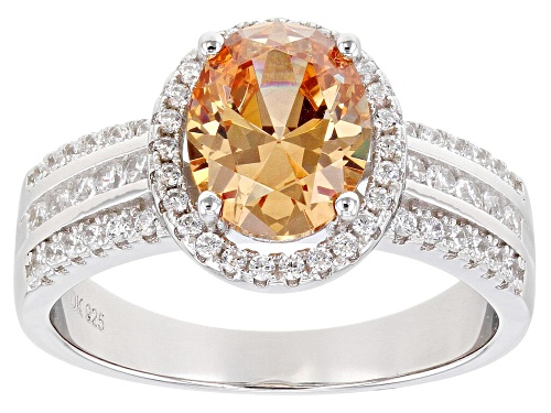 Photo of Bella Luce ® 3.88ctw Champagne and White Diamond Simulants Rhodium Over Sterling Ring (2.20ctw DEW) - Size 8