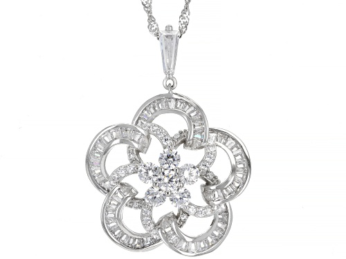 Photo of Bella Luce ® 3.76ctw Rhodium Over Sterling Silver Flower Pendant With Chain (1.16ctw DEW)