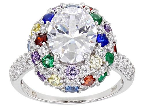 Photo of Bella Luce ® 7.17ctw Multi Gem Simulants Rhodium Over Sterling Silver Ring - Size 6