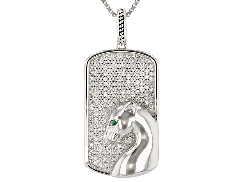 Photo of Bella Luce ® 1.30ctw Emerald And White Diamond Simulants Rhodium Over Silver Pendant With Chain