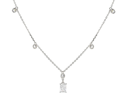 Bella Luce ® 4.23ctw White Diamond Simulant Rhodium Over Sterling Silver Necklace (2.49ctw DEW) - Size 18