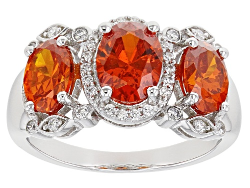 Photo of Bella Luce ® 5.07ctw Orange Sapphire and White Diamond Simulants Rhodium Over Sterling Silver Ring - Size 7