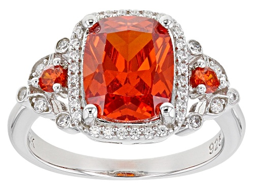 Photo of Bella Luce ® 5.57ctw Orange Sapphire And White Diamond Simulants Rhodium Over Silver Ring - Size 7